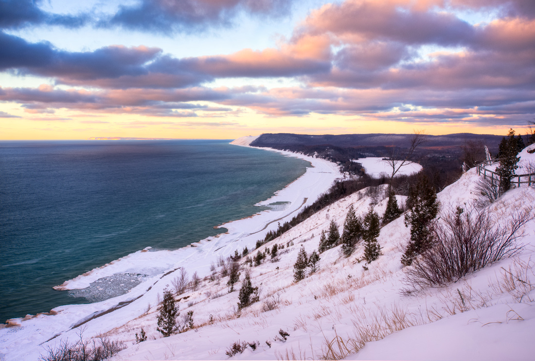 """Snowy Sunset at Empire Bluff Overlook"""