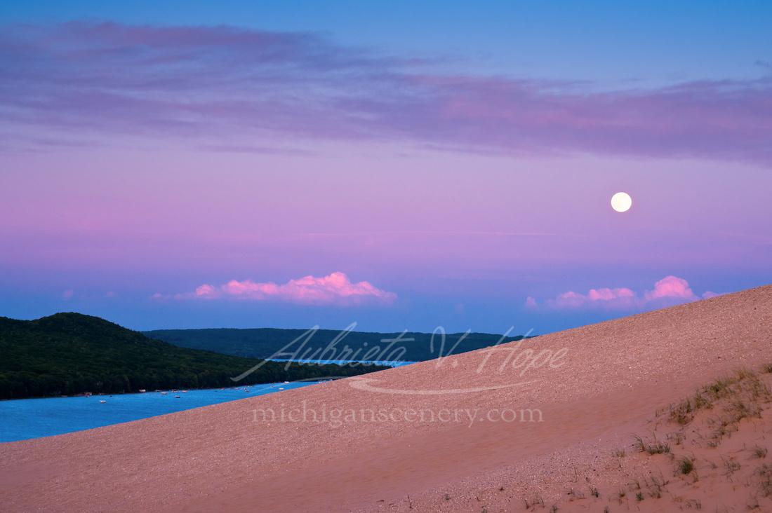 """Strawberry Moon Over Glen Lake"""