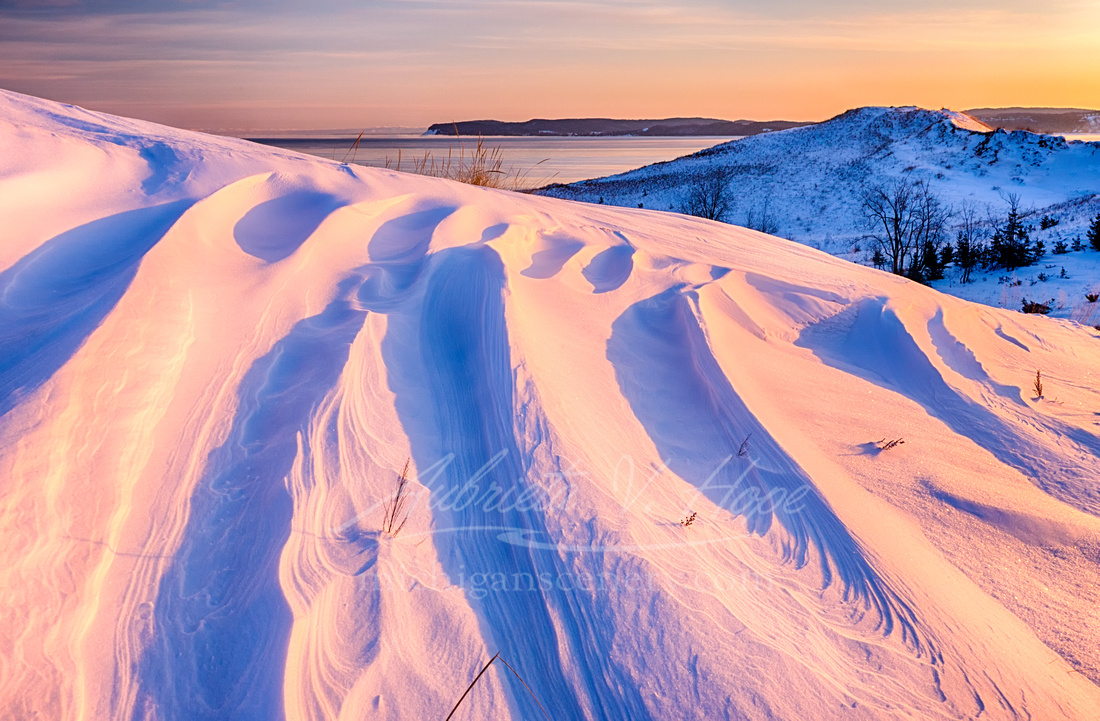 """Snowshoe Sunrise at Sleeping Bear Dunes"""