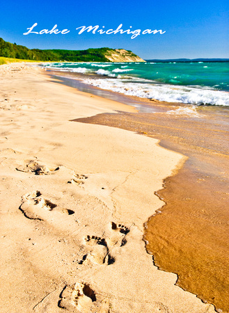 Footprints, Lake Michigan Shoreline Photo Magnet