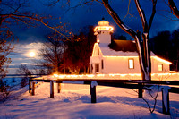 """Winter Moonrise, Mission Point Lighthouse"""